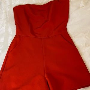She + Sky red strapless romper - size M